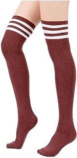 e91efdf4f32b7 Spring fever Girls Triple Stripes Over Knee High Stockings Athletic Tube  Socks