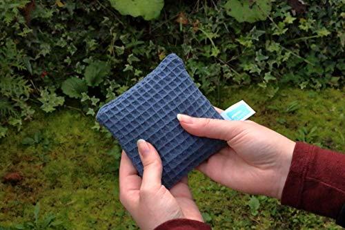 Rapssamenkissen Mikrowelle, 10cm x 10cm, Kühlpack klein, Waffelpiqué Blau