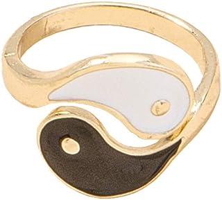 خاتم مينا يين يانج رينج بانغ العتيق للأصابع إنفينيتي فينج شوي بيان خاتم تايجي الصيني العتيق مجوهرات للرجال النساء فتاة بوي