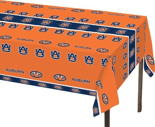 "Creative Converting Auburn University Rectangle Table Cover, 54"" x 108"", Plastic Tablecover"