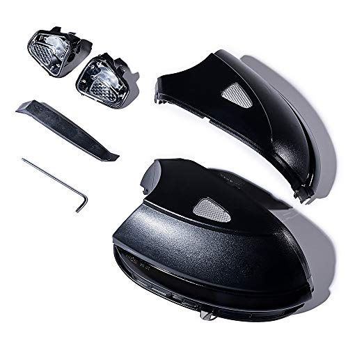 Dynamic LED Indicator Turn Lights Signal Side Mirror Housing Compatible with VW Passat B7 CC - Amber Smoke Lens