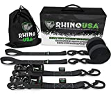 RHINO USA Ratchet Straps Motorcycle Tie Down Kit, 5,208 Break Strength - (2) Heavy Duty 1.6' x 8' Rachet Tiedowns with Padded Handles & Coated Chromoly S Hooks + (2) Soft Loop Tie-Downs (BLACK)