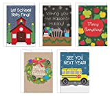 Tiny Expressions Teacher Holiday Cards- 5-Pack Teacher Christmas Cards, 5 Designs with Envelopes Included (Holiday Cards)
