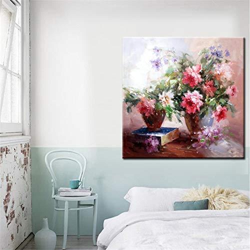 YuanMinglu Blumen in Einer Flasche abstrakte Kunst Leinwand Malerei Handabdruck drucken Poster Wandkunst Wandbild Dekoration Geschenk rahmenlose Malerei 70x70cm