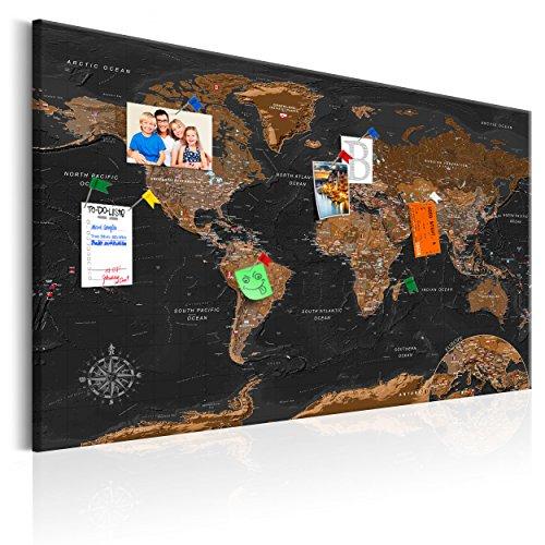 decomonkey | Weltkarte Pinnwand 120x80 cm | Vlies Leinwand | Bilder | Leinwandbilder | Fertig aufgespannt auf Dicker 10mm Holzfasertafel | Aufhängfertig | Auch als Korktafel nutzbar