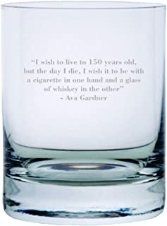 Ava Gardner Quote Etched Crystal Rocks Whisky Glass