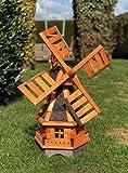 Darlux Macinino a vento esagonale da giardino, in legno, con cuscinetti a sfera, marrone/n...
