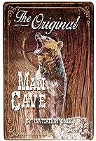 男の洞窟熊 金属板ブリキ看板警告サイン注意サイン表示パネル情報サイン金属安全サイン