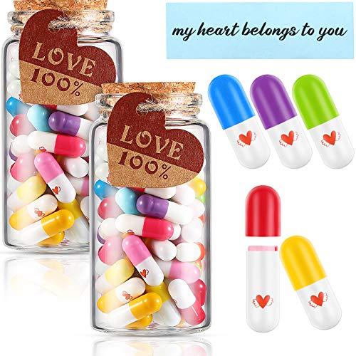 Patelai 150 Pieces Capsule Message in 2 Bottles, Love Friendship Half Color Pills Present Capsule...