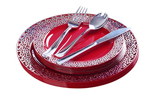 FOMOICA Red Silver Plastic Plates and Silver Silverware - 125 Piece Disposable Premium Plastic Dinnerware Set – Dinner Plates, Forks, Spoons, Knives – Birthday Parties, Wedding, Halloween, Christmas