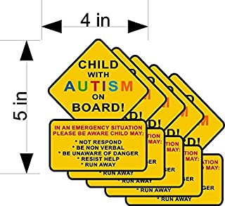5-Pack Child with Autism ON Board car/Truck/Home/Window Vehicle Decals/Stickers