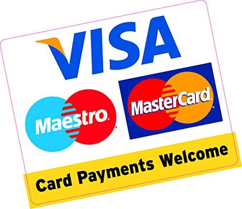 Karte Zahlungen Welcome, quadratisch, groß, 150x 120mm Kreditkarte Vinyl Aufkleber Shop Taxi