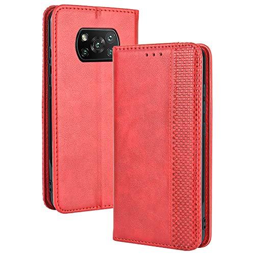 TANYO Leder Folio Hülle für Xiaomi Poco X3 Pro   X3 NFC, Premium Flip Wallet Tasche mit Kartensteckplätzen, PU/TPU Lederhülle Handyhülle Schutzhülle - Rot