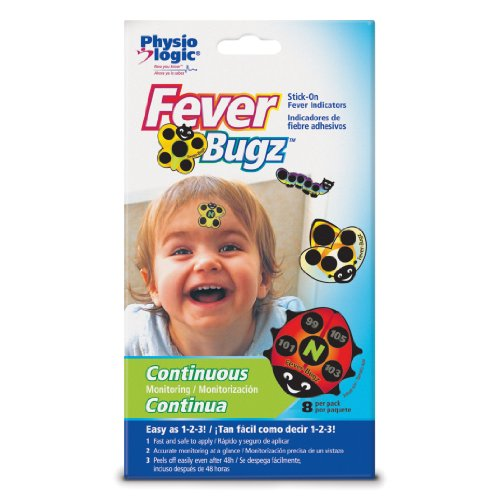 Physio LogicFever-Bugz Stick-On Fever Indicator, Allows to Continuously Monitor Fever or Temperature for Up to 48 Hours, Stick-on Fever Indicator that is Safe, Accurate, and Fast