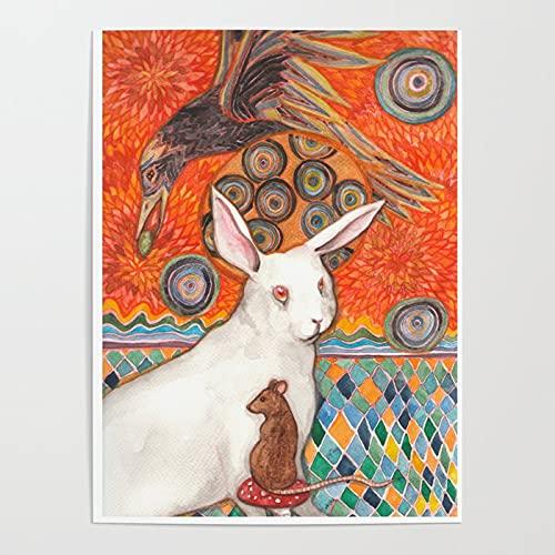 Beaxqb Pintar por Numeros para Adultos Niños Cuervo Animal Conejo Lienzo Colorido con cepillos Decoración Decoraciones Pared LienzoArte decoración del hogar 40X50cmSin Marco