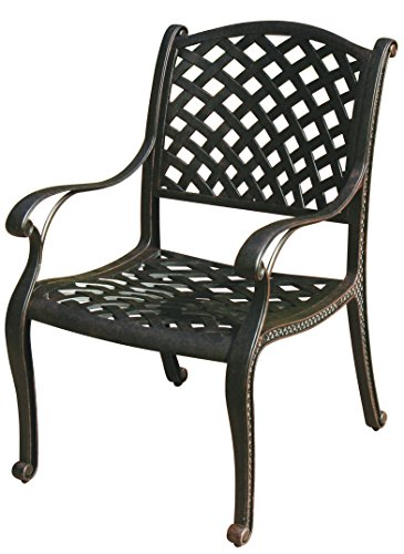 Darlee Nassau Cast Aluminum Dining Chairs with Cushions (Set of 4), Antique Bronze Finish