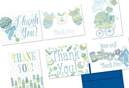Note Card Cafe Baby Shower Card with Envelopes | 36 Pack | Blank Inside, Glossy Finish | Extra Sprinkles Blue | Bulk Pack Greeting Cards, Congrats, Invitation, Thank You for Girl or Boy Shower