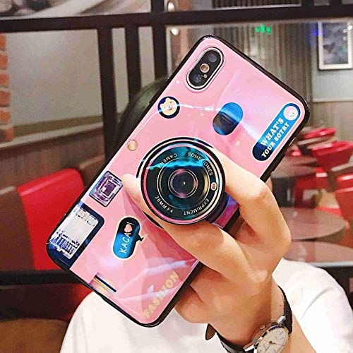 SJKDM telefoonhoesje Blauw Ray Camera Silicone Telefoonhoesje Voor Samsung Galaxy S10 S9 S8 Plus Case Zachte TPU Back Cover Voor Samsung Note 10 Plus for S9 Pink with Stand