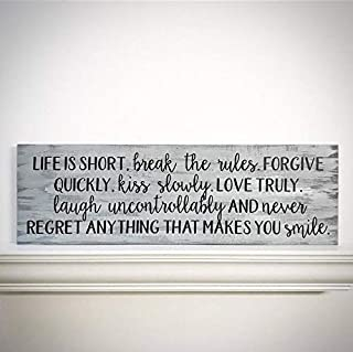 CELYCASY Custom Wood Sign - Life is Short, Break The Rules. Forgive Quickly, Kiss Slowly - Customizable Handlettered 33x9.5 Mark Twain Quote Plank