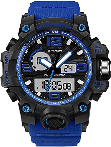 QHG Digital analógico para Hombres DIRIGIÓ Reloj Deportivo al Aire Libre Impermeable Multifunción Militar Multifunción Casual Dual Pantalla de cronómetro Calendario Reloj de Pulsera (Color : Blue)