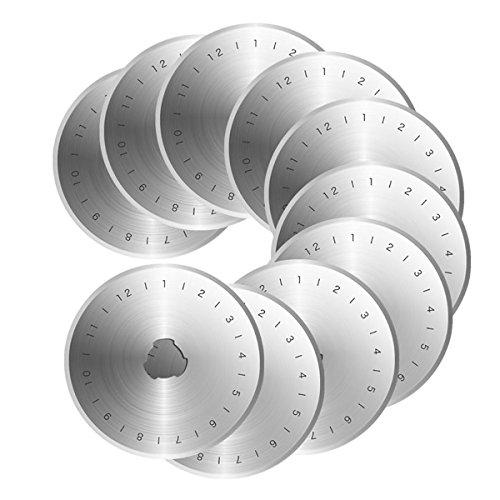 Rosenice Lot de 10 lames de rechange pour cutter rotatif de 45 mm en acier avec étui
