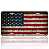 USA American Flag License Plate Cover – Zento Deals Patriotic Pledge of Allegiance Vintage Stainless Steel Thick Durable Novelty License Plate