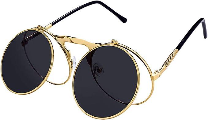 Steampunk Accessories | Goggles, Gears, Glasses, Guns, Mask Retro Round 80s Flip Up Steampunk Sunglasses Mirror Vintage Circle Sun Glasses Eyewear for Men Women  AT vintagedancer.com