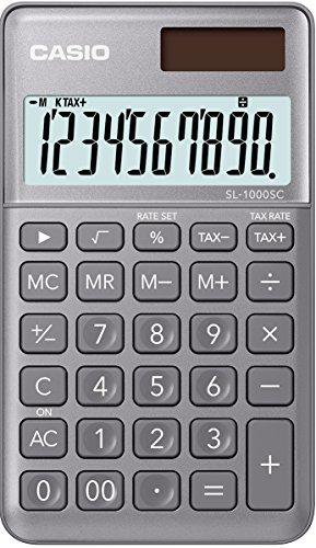Casio SL-1000SC-GY stylischer Taschenrechner, 10-stelliges BIG LC-Display mit Rechenbefehl-Anzeige, in sechs Farbvarianten