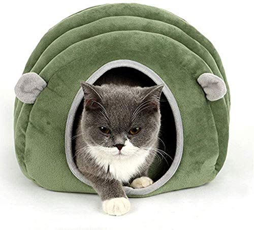 DOCJX Cat bed igloo cave sleeping bag pet warm house cushion removable and washable indoor nest bed cat puppy (gray), dark green-M