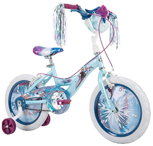 Huffy Frozen 2 Kid Bike, Training Wheels, Streamers & Basket Included, 16 inch, Blue