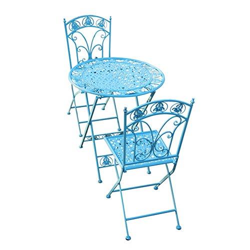 LBYMYB Tavolo da Esterno in Ferro Battuto E Combinazione di Tre Sedie in Ferro Battuto in Ferro Battuto per Il Tempo Libero Creativo per Il Tempo Libero tavolino da caffè (Color : Blue)