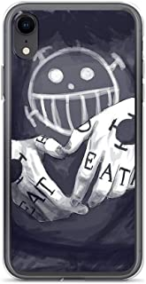 TEEMT Compatible with iPhone XR Case One Piece Trafalgar D Water Law Tattoo Japan Anime Art Pure Clear Phone Cases Cover