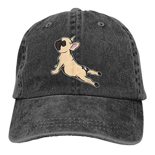 GULTMEE Unisex Truck Baseball Cap,French Bulldog Yoga,Adjustable Cowboy Cap Denim Hat for Women and Men
