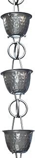 Monarch Aluminum Hammered Cup Rain Chain, 8-1/2 Feet Length (Pewter Bronze)