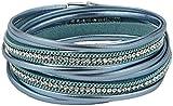 Feelinko Armband im Metallic-Leder-Design Armkettchen Armband Wickelarmband Armreif Damen Women türkis