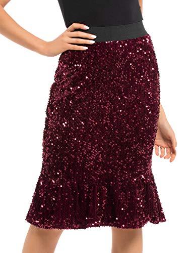 PrettyGuide Women's Sequin Skirt High Waist Velvet Shimmer Mermaid Ruffle Party Pencil Skirt - Red - Large