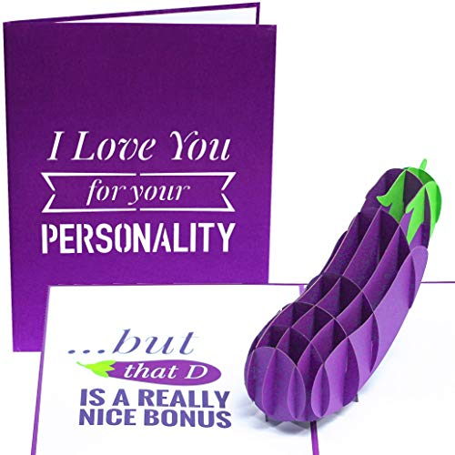 PopLife Naughty Eggplant 3D Valentine's Day Pop Up Card - 'I Love You for Your Personality, But that D is a Really Nice Bonus' - Funny Gift for Husband, for Boyfriend - Sexy Humor Joke