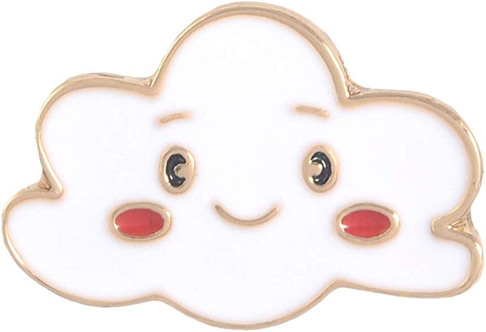 JENPECH Cute Brooch Pin for Unisex,Cartoon Sun Moon Cloud Rainbow Enamel Brooch Pin Bag Collar Lapel Badge Jewelry - Cloud