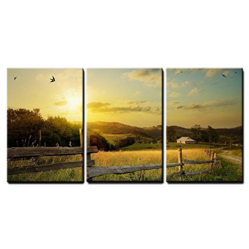 wall26 - 3 Piece Canvas Wall Art - Art Rural Landscape. Field and Grass - Modern Home Decor Stretched and Framed Ready to Hang - 24'x36'x3 Panels