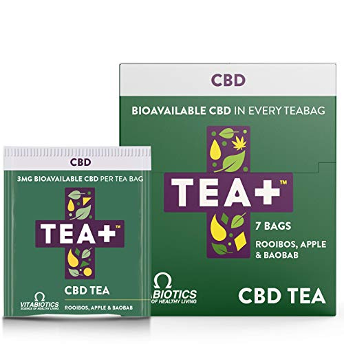 Vitabiotics TEA+ ( Tea Plus ) CBD Tea - | Herbal Cannabis Tea with 3MG Bioavailable CBD in Every Teabag | Apple and Baobab Natural Flavour | 7 Tea Bags