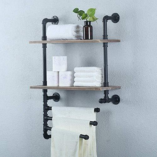 Home Equipment Toallero industrial con 3 barras de toalla Estantes de baño rústicos Montado en la pared de 24 pulgadas y 2 niveles de granja Estantería de tubería negra Estante de madera Estantes f