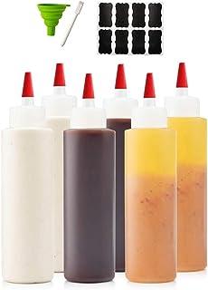 6-pack Premium Plastic Condiment Squeeze Squirt Bottles for Sauces, Paint ,Oil, Condiments ,Salad Dressings, Arts and Craf...