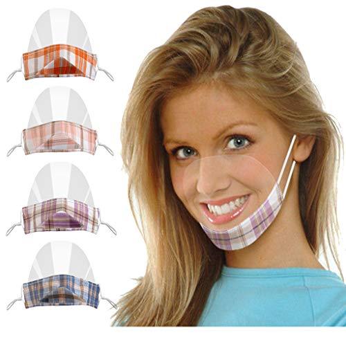 4 Stück Transparente Offene Gesichtsschutz, Half Face Visier Kunststoff Klarer Gesichtsschutz Elastisch Komfortabel Tragender Mundschutz, Wiederverwendbarer Sicherheitsgesichtsschutz