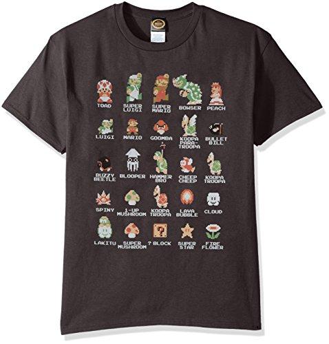 Nintendo Men's Pixel Cast T-Shirt, Charcoal, Large