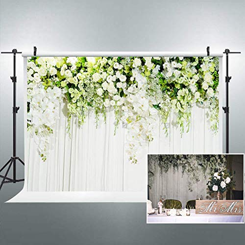 Riyidecor Bridal Floral Wall Backdrop Polyester Fabric Wedding Photography Background Dessert White Green Rose Flowers Reception Ceremony 7Wx5H Feet Decoration Props Party Photo Shoot