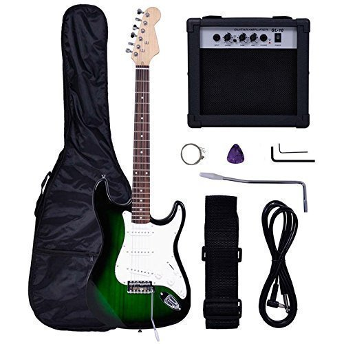 Polar Aurora Full Size Green Electric Guitar + 10 W Amp + Gig Bag Case + Guitar Strap Beginners+Cord