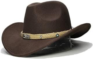 HongJie Hou Women Men Wool Hollow Western Cowboy Hat Roll-up Wide Brim Cowgirl Jazz Equestrian Sombrero Cap With Tassel Tauren Ribbon