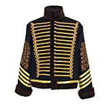 Fortunehouse Napoleonic Hussars Jacket Steampunk Military Tunic Jacket Coat Parade Jacket Faux Fur (XL) Black