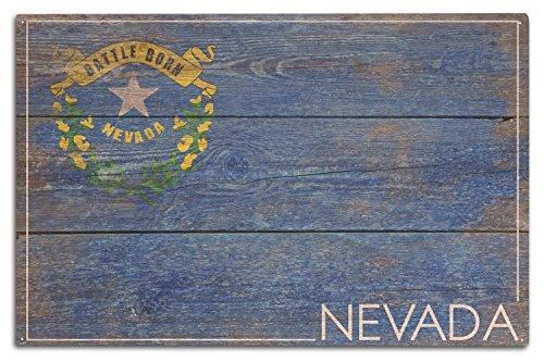 Lantern Press Rustic Nevada State Flag (10x15 Wood Wall Sign, Wall Decor Ready to Hang)