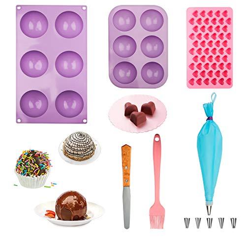 Juego de 6 moldes para bombas de chocolate, 7 cm/6,35 cm, con molde de chocolate pequeño para exceso de materias primas, viene con espátula, cepillo de pastelería, bolsa de tuberías y juego de puntas, sin olor, lo suficientemente grueso, también para postres